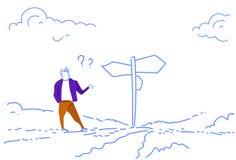 La señal de tráfico derecha del hombre de negocios confuso elige el garabato del bosquejo de los signos de interrogación de la fl ilustración del vector