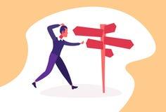 La señal de tráfico derecha del hombre de negocios confuso elige el plano horizontal del personaje de dibujos animados de la flec ilustración del vector