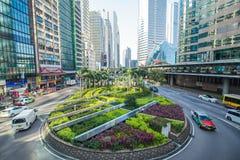 La señal del distrito central de Hong Kong, China imagen de archivo