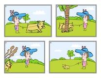 La señora con un pequeño perro stock de ilustración