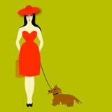 La señora con un perro Fotos de archivo libres de regalías