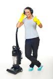 La señora de la limpieza acertada da los pulgares Imagen de archivo libre de regalías