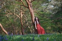 La señora de moda se inclina contra un árbol en un arbolado inglés en primavera temprana, con campanillas en el primero plano imagenes de archivo