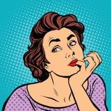 La señora del arte pop piensa ilustración del vector