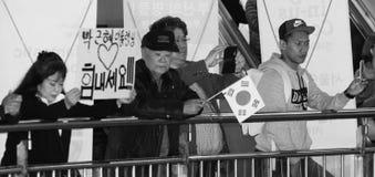 La señora en la reunión lleva a cabo una muestra que diga, ` que amamos el arma-Hye del parque ` Fotografía de archivo libre de regalías