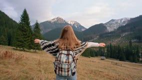 La señora es brazos de levantamiento como un ganador y victoria que anima en montañas Cámara lenta almacen de metraje de vídeo