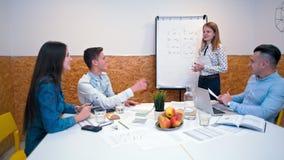 La señora está explicando teoría a un grupo de personas cerca de Flipchart en un cuarto de la oficina metrajes