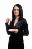 La señora hermosa está bebiendo el café Fotografía de archivo