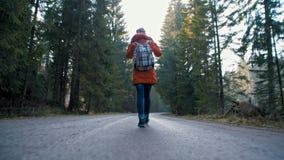 La señora joven con la mochila está caminando en manera de camino en el bosque en otoño almacen de video
