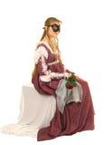La señora joven con rojo se levantó Imagen de archivo