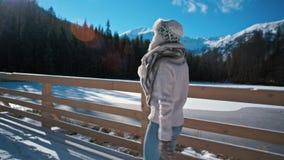 La señora joven delgada es puente de los acrros que camina cerca del lago mountain en invierno metrajes