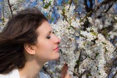 La señora joven huele un árbol floreciente Fotos de archivo libres de regalías