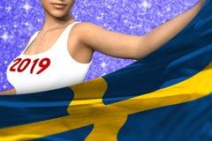 La señora linda sostiene la bandera de Suecia en frente en el fondo brillante azul de las chispas - el concepto 3d de la bandera  libre illustration