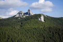 La señora s empiedra el acantilado - Rarau - Campulung - Rumania Foto de archivo
