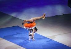 La señora y el perro se realizan durante el circo de Ringling Bros en Barcays en B Foto de archivo libre de regalías