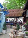 La sección bohemia Skadarlija de la arquitectura histórica del restaurante sea Foto de archivo
