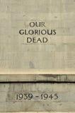 La seconda guerra mondiale del cenotafio i nostri morti gloriosi Fotografia Stock Libera da Diritti