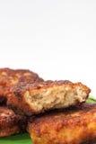 La section transversale des boulettes de viande avec de la viande hachée Photographie stock libre de droits