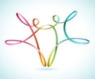 La secuencia colorida figura el baile stock de ilustración