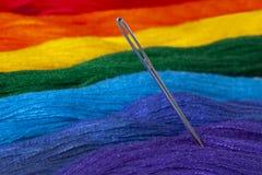 La seda de Mitty present? en los colores del arco iris Ascendente cercano de la aguja fotografía de archivo libre de regalías