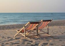 La sedia di spiaggia si rilassa la Tailandia Fotografia Stock Libera da Diritti