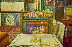 La sedia dipinta nella cattedrale di Vank, Ispahan, Iran Fotografia Stock Libera da Diritti