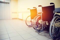 La sedia a rotelle è nell'ospedale immagine stock libera da diritti