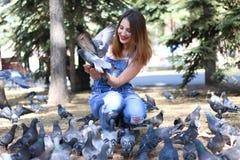 La seduta della donna alimenta a piccioni i semi Fotografie Stock Libere da Diritti