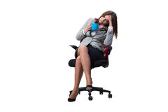 La seduta della donna di affari isolata su fondo bianco Fotografia Stock Libera da Diritti
