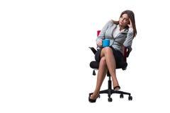La seduta della donna di affari isolata su fondo bianco Fotografie Stock