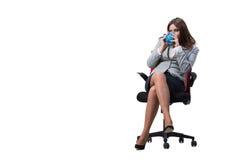 La seduta della donna di affari isolata su fondo bianco Fotografie Stock Libere da Diritti