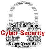 La seguridad cibernética indica el World Wide Web y la búsqueda stock de ilustración
