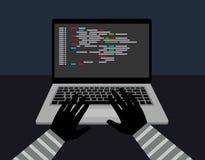 La seguridad del pirata informático roba sus datos y sistema con Internet del código hurto de datos del ordenador Imagen de archivo