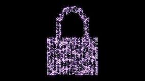 la seguridad informática 4k con el candado, una placa de circuito futurista con los electrones móviles formó el símbolo de la cer libre illustration
