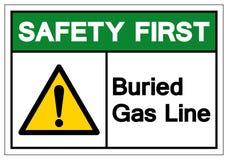 La seguridad primero enterr? la l?nea de gas muestra del s?mbolo, ejemplo del vector, aislante en la etiqueta blanca del fondo EP libre illustration