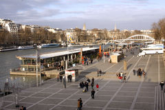 La Seine and the bank in Paris Stock Images