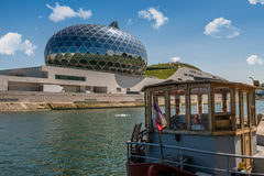 La Seine Musicale or City of Music on Seguin Island with peniche in Boulogne-Billancourt, south-west of Paris. Royalty Free Stock Photo