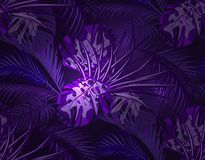 La selva en la luz ultravioleta neón hojas de las palmeras tropicales, monstruos, agavos inconsútil Ilustración Imágenes de archivo libres de regalías