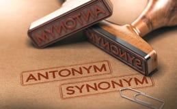 La semántica, contrario redacta el antónimo y el sinónimo Lingüística Conce Fotografía de archivo libre de regalías