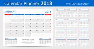 la semaine de calibre d'impression de 2018 calendriers commence l'ensemble d'orientation de portrait de dimanche de 12 mois de pl Photos libres de droits