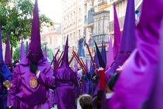 La Semana圣诞老人队伍在西班牙,安达卢西亚,塞维利亚 库存图片