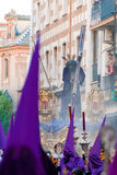 La Semana圣诞老人队伍在西班牙,安达卢西亚,塞维利亚 免版税库存照片