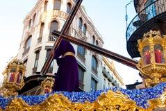 La Semana圣诞老人队伍在西班牙,安达卢西亚,塞维利亚 免版税库存图片