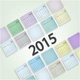 La semana de la plantilla del diseño del calendario 2015 comienza domingo Imagen de archivo