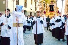 La Semana Santa Procession i Spanien, Andalucia, Cadiz Arkivfoto