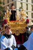 La Semana Santa Procession i Spanien, Andalucia, Cadiz Royaltyfri Bild