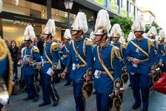 La Semana Santa Procession i Spanien, Andalucia, Seville Arkivfoto