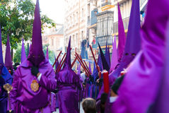 La Semana Santa Procession in Spanje, Andalucia, Sevilla Stock Afbeelding