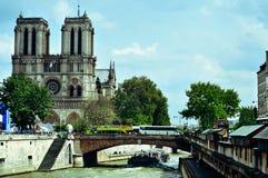 La Senna e cattedrale di Notre-Dame a Parigi, Francia Fotografie Stock Libere da Diritti