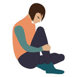 La sentada triste del hombre joven arqueó su cabeza aislada en el ejemplo creativo del vector del arte blanco del fondo ilustración del vector